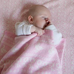 Personalised Lambswool Pink Animals Blanket