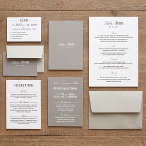 Traditional Style Wedding Invitation / Stone Grey