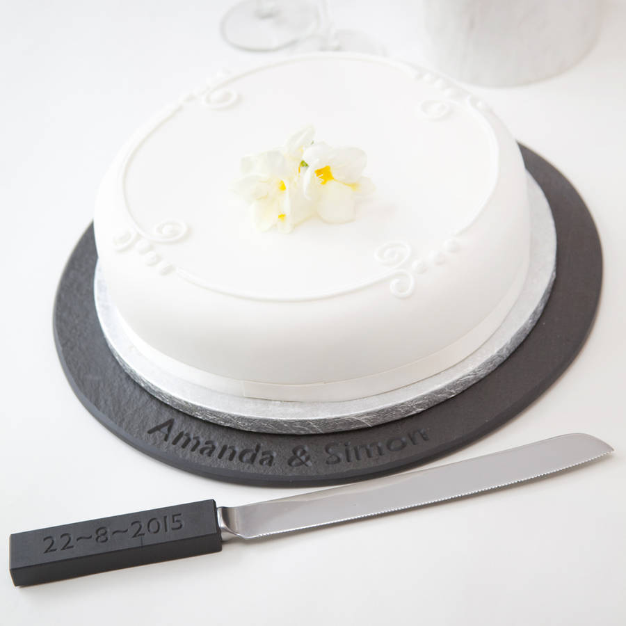 wedding cake knife not on the high street wedding cake knife personalised slate handle by marbletree 23023
