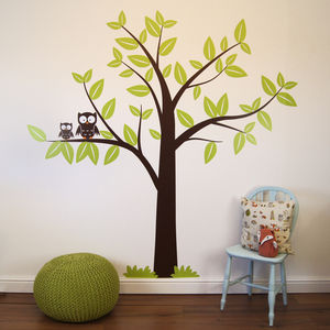 Tree With Owls Wall Sticker - wall stickers