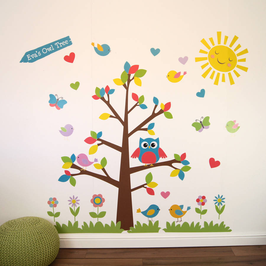 owl tree wall stickers by parkins interiors tree wall sticker with fence owls and birdcage