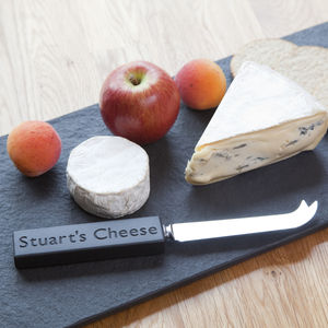Cheese Knife Personalised British Slate Handle - gifts for couples