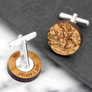 Wooden Globe Secret Message Cufflinks