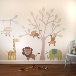 Monkey Friends Tree Wall Stickers