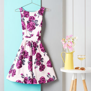 1950s Vintage Style Rose Floral Tea Dress - women's fashion