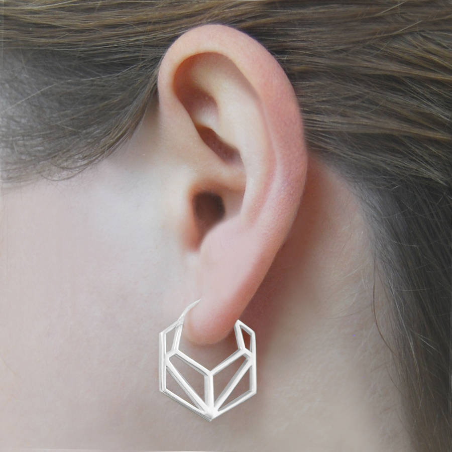 8148a601f geometric hexagonal sterling silver hoop earrings by otis jaxon ...