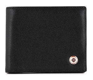 Black Nappa Leather Wallet With Rose Gold Helveco Pin