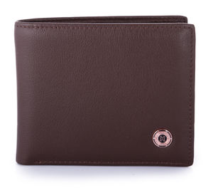 Brown Nappa Leather Wallet With Internal Closing Clip