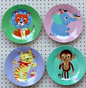 Set Of Four Porcelain Party Animal Plates