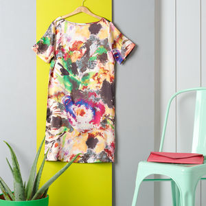 Watercolour Print Silk Satin Dress