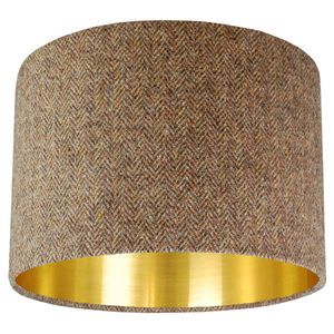 Brown Harris Tweed Lampshade Choice Of Metallic Lining