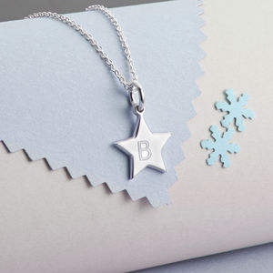 Personalised Sterling Silver Star Charm Necklace