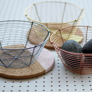 Silver Metal Wire Fruit Bowl - tableware