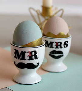 Mr And Mrs Ceramic Egg Cups - egg cups & cosies