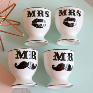 Mr And Mr Ceramic Egg Cups - egg cups & cosies