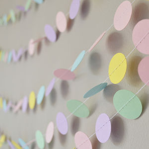 Pastel Mix Circles Paper Garland - room decorations