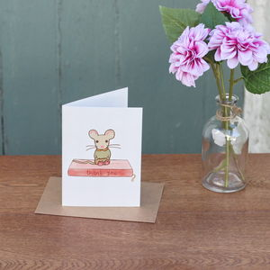 Pip The Mouse On A Book Thank You Card - thank you cards