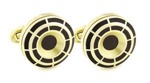 Yellow Gold Plated Wheel Crown Cufflinks - men's accessories