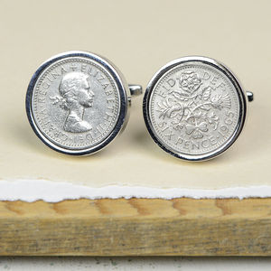 Vintage Lucky Silver Sixpence Cufflinks