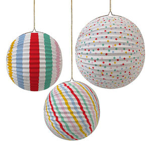 Spotty And Stripy Paper Party Lanterns - party lights & lanterns