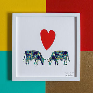 'Big Love Cows' Cows Romantic Gift Artwork - posters & prints