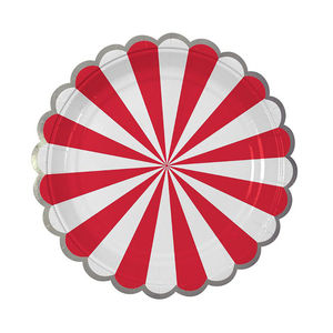 Striped Red Paper Plates - plates & crockery