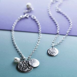 Sterling Silver Decorative Initial Bracelet