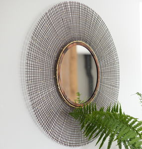 Copper And Gold Sunburst Mirror - decorative accessories