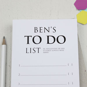 Personalised Classic 'To Do List' Notepad - gifts for him