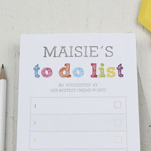 Personalised Colourful 'To Do List' Notepad - gifts for her