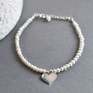 Silver And Pearl Heart Bracelet - june birthstone