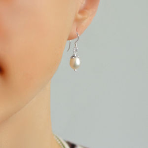 Silver Dew Drop Pearl Earrings