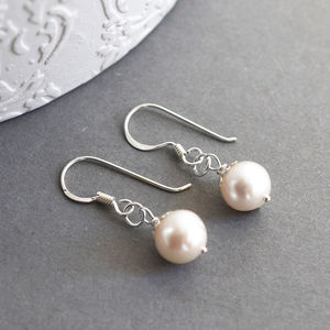 Silver Pearl Drop Earrings - earrings