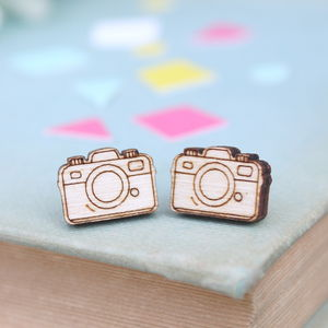 Wooden Camera Stud Earrings - earrings