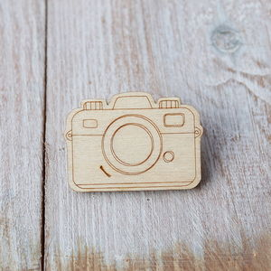 Wooden Camera Brooch - children's accessories