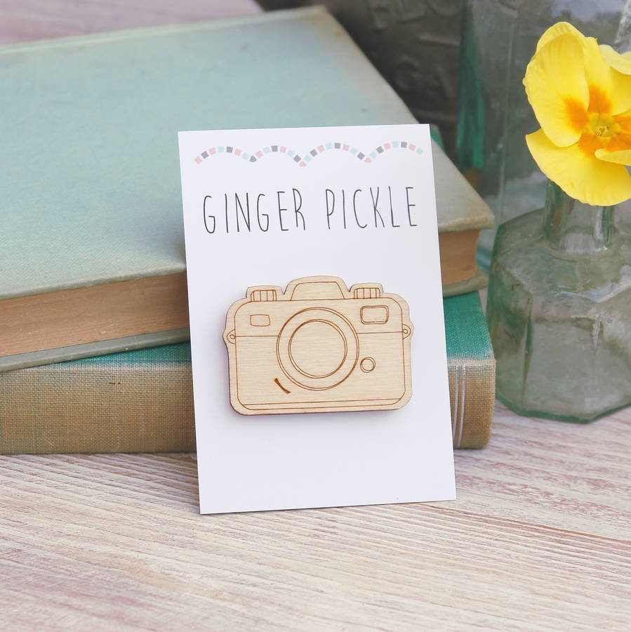 wooden camera brooch by ginger pickle | notonthehighstreet.com