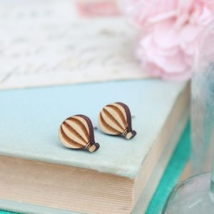 Wooden Hot Air Balloon Stud Earrings - earrings