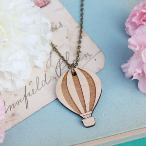 Wooden Hot Air Balloon Necklace - necklaces & pendants