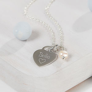 Personalised Sterling Silver Heart Charm Necklace - gifts for her