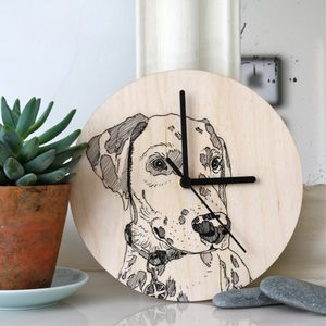 Bespoke Pet Portrait Line Drawing Clocks - clocks