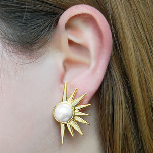 Gold Sun Ray Vintage Style Pearl Statement Earrings - earrings