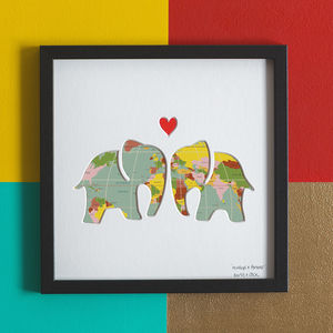 'Always And Forever' Elephant Wedding Gift Art, Map