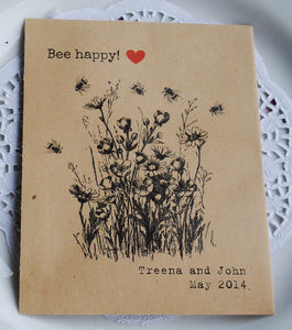 Bee Happy Recycled Seed Packet Wedding Favour - wedding favours