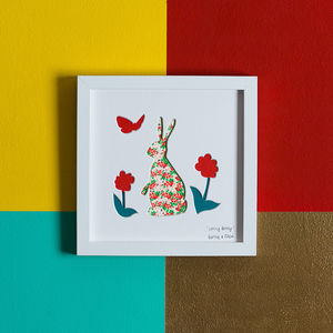 'Spring Bunny' Rabbit New Baby Gift Artwork