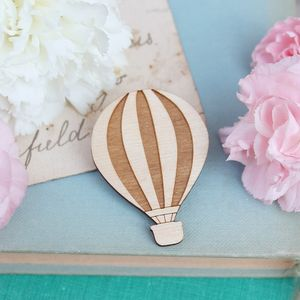 Wooden Hot Air Balloon Brooch - women's jewellery