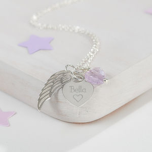 Personalised Silver Heart And Angel Wing Necklace - gifts for her