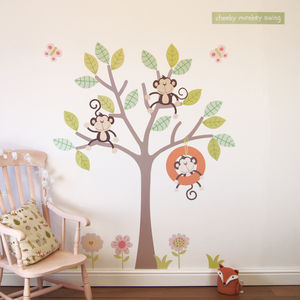 Cheeky Monkey Swing Tree Wall Stickers - baby & child sale