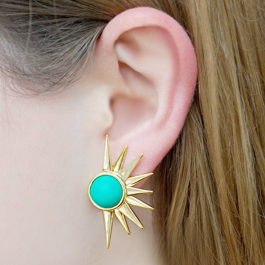 Sun Ray Vintage Style Aqua Statement Earrings