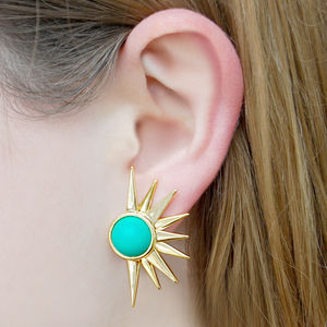 Sun Ray Vintage Style Aqua Statement Earrings - statement sparkle