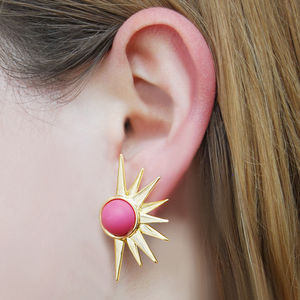 Sun Ray Vintage Style Hot Pink Statement Earrings - earrings